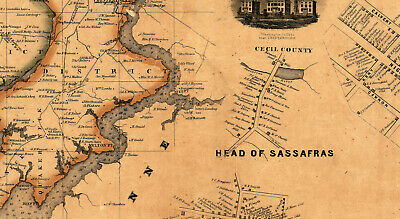 Map of Kent County Maryland c1860 repro 24x24 7