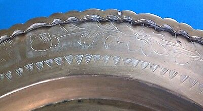 """Vintage Chinese Hand Carved Brass 29"""" Rimmed Oval Table Tray/Top 5"""