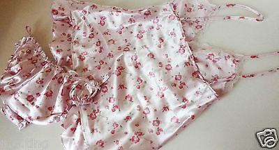 Pink Satin Short Flirty Babydoll and Matching Frilly Bikini Knickers Set UK 8