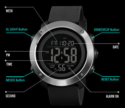SKMEI Watch Mens/Womens Watches Waterproof Sport Outdoor LED Digital Wristwatch 8