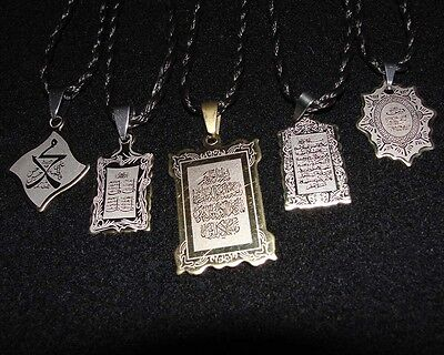 Evil Eye NAZAR Pendant Necklaces Quran Yasin Ayatul Kursi Muslim Islamic Dua Tag