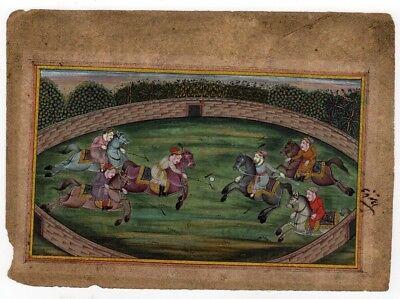 Indian miniature Polo scene, gouache and gilt 2