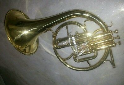 Horn Mellophone Pure Brass Made In Brass Polish Extra Slide Free Case & Mouthpc