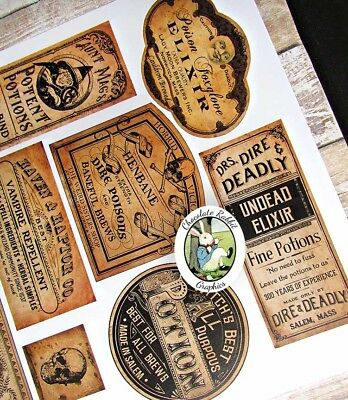 Halloween Potion Labels, Vintage Style Apothecary, Uncut Sticker Sheet 14 Labels 4
