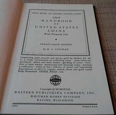 1969 Blue Book A HandBook of United States Coins Dealer Guide 26th Edition