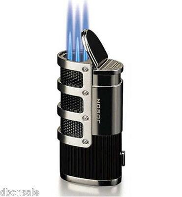 Windproof Triple Torch Jet  Flame Butane Gas Cigar Cigarette Lighter Silver 2