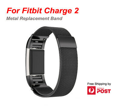 For Fitbit Charge 2 Band  Stainless Steel Metal Milanese  Loop Wristband strap 2
