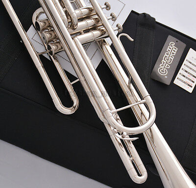 Professional Silver nickel Bb Bass Trumpet 3 Piston Vavles JINBAO Horn With Case 2