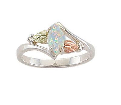 Landstrom/'s Black Hills Gold on Sterling 8X4mm Marquise Lab Opal Ring MRLLR2948