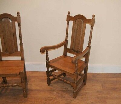 4 Oak Farmhouse William Mary Kitchen Chairs Tudor 9