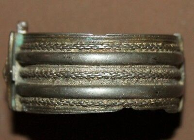 Antique Greek folk silver hinged cuff bracelet 3