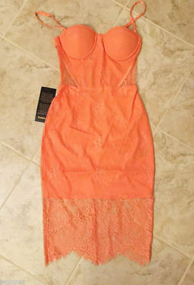 NWT bebe S Small 4 lace midi dress coral straps top cutout floral bustier club 2