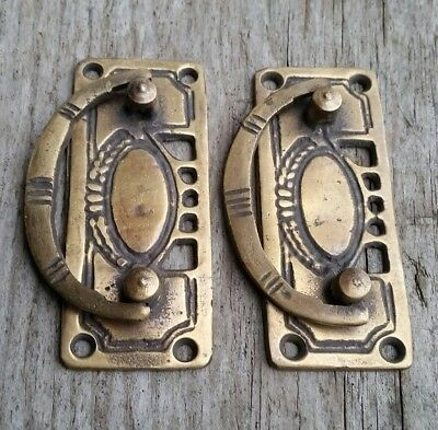 """2 Arts and Crafts Antique-Style Brass Handles Pulls Hardware  3 1/8""""w #H33 4"""
