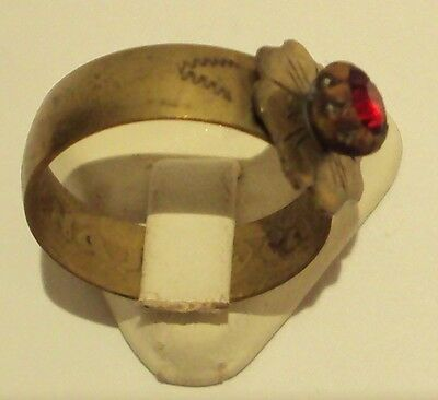 VINTAGE NICE BRONZE RING WITH RED STONE FROM THE EARLY 20th CENTURY # 909 4