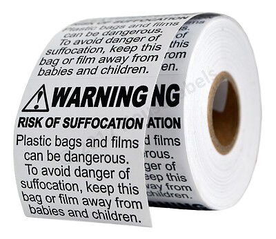 12 Rolls ; 500 Labels 2 x 2 Suffocation Warning FBA approved Labels/Stickers