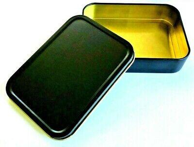 2oz LARGE UNHINGED Cigarette Tobacco STASH Metal Baccy Bait BLACK MATT Tin 2