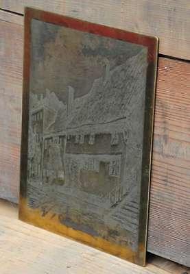seltene große Druckplatte HAUS - STRASSENANSICHT Klischee Rarität Häuser 2