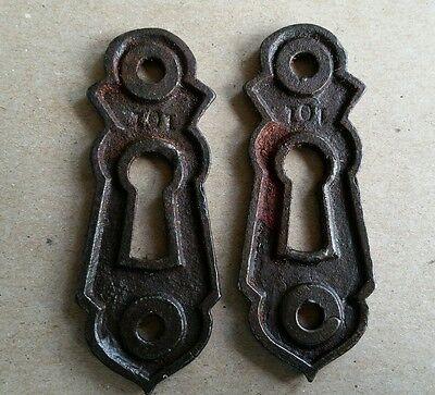 Pair Decorative Vintage Victorian  Key Hole Covers  Cast Iron (#142) 2