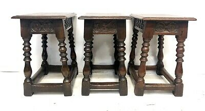 # Set 3 Antique Victorian Carved Oak Joint Stools Occasional Tables Lamp Stands 6