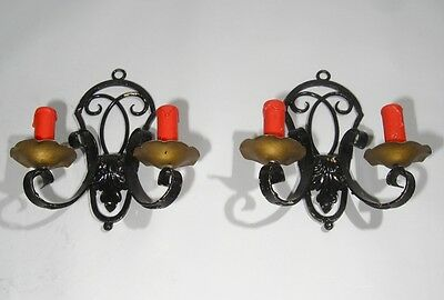 Pair of Vintage French Wrought Iron Sconces, 1920's 2