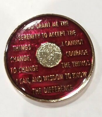 Gold Black Enamel Silver 36th Year XXXVI 36 Year AA Sobriety Coin Medallion