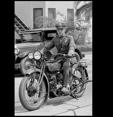Vintage Indian Motorcycle Cop PHOTO 1930s Los Angeles Police Officer 2