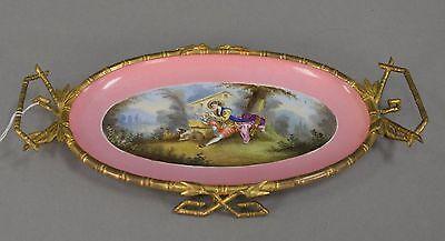 Antique French Porcelain Portrait Ormolu Cavalier King Charles Spaniel Dog Plate 6