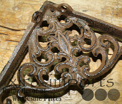 6 Cast Iron Antique Victorian Style Brackets, Garden Braces Shelf Bracket 4