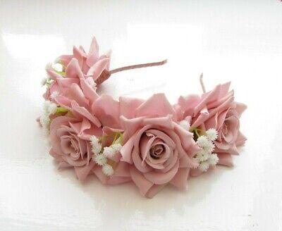 Blush Light Pink Rose White Gypsophila Flower Headband Hair Crown Garland 7280 4