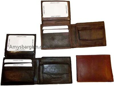 Lot of 5 New Trifold Leather Man's wallet 2 ID 2 billfold Black 6 card wallet BN