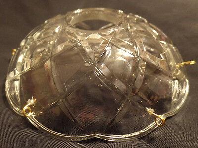 """6/"""" ~ CRISSCROSS Pressed Glass Bobeche Lamp Chandelier ~ 10 Brass Pins ~ #B927"""