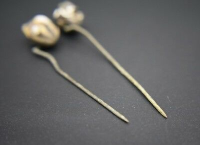 Group of 2 ancient Phoenician decorated glass pins 2nd - 1st millennium BC 11