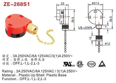 3 Speed Pull Chain Switch 4 Wire Zing Ear Ze 268s Ze 268s1 Jandorf 60303 Brass 18 63 Picclick