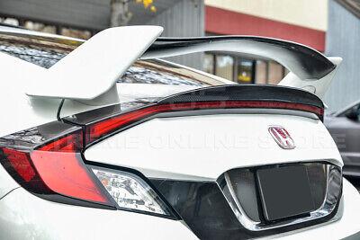 For 16-Up Honda Civic Coupe JDM CARBON FIBER Rear Trunk Add On Duckbill Spoiler