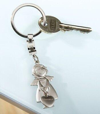 Gilde Schlüsselanhänger Lebensblume Herz Engel Metall silber 51077 Geschenk Matt