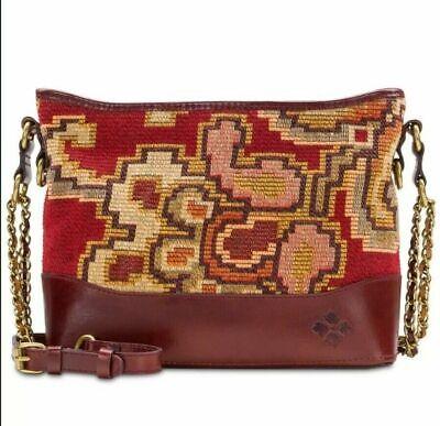 NWT Patricia Nash Crossbody Bag Shoulder Handbag Tapestry Leather burgundy brown 3