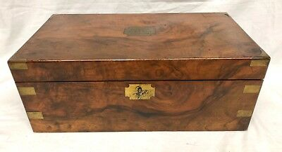 Antique Victorian Walnut & Brass Campaign Writing Box Slope SECRET DRAWERS 2