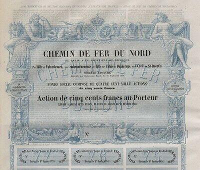 Nordbahn / Chemin de Fer du Nord – Frankreich, Aktie, 500 Francs, von 1856
