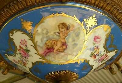 BEST Vintage SEVRES Chandelier~FRENCH FLORAL/CUPID Hand Painted COLLECTIBLE 3