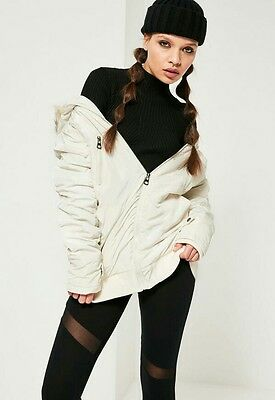 9956830c794 ... Topshop Zara Missguided Cream Faux Fur Hood Ruched Bomber Parka Jacket-  Size 6/8