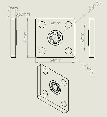4 Pcs KFL04 4mm inner ID bore square Mounted Housing with MF84ZZ Flanged Bearing 5