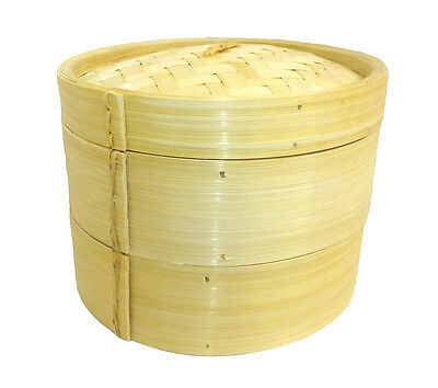 "6"" Bamboo Steamer Round Dim Sum Steamer 2 Tier 1 Lid + FREE 25 Dim Sum Papers"