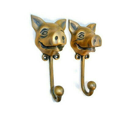 """2 heavy PIG HOOK WALL MOUNTED COAT old style BAG ANIMAL 6"""" HANGER 3"""