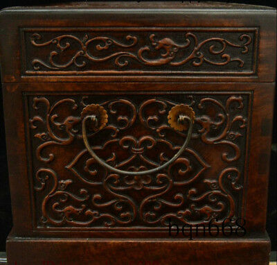 """16"""" China old Huang Huali Wood carving Dragon Beast Storage Jewelry Box Statue 7"""