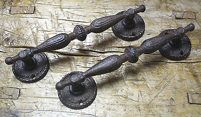 4 HUGE Cast Iron Antique Style RUSTIC Barn Handle Gate Pull Shed Door Handles