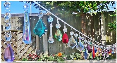 5 Crystals Drops Glass Beads Chandelier Light Prisms Parts Vintage Look Droplets 2