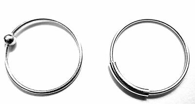 NOSE RING STERLING SILVER 0.6mm THIN PIERCING HOOP CHOOSE  8mm 10mm or 12mm size 2