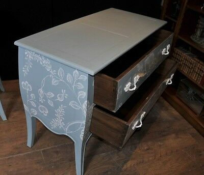 Pair French Painted Commodes Chest Drawers Shabby Farmhouse 7