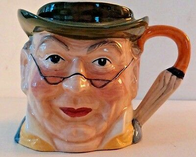Antique Hand Painted Staffordshire England Character Mr Pickwick Toby Jug Mug 2