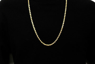 """14k Gold plated rope chain men's women's 24"""" inches necklace free shipping new 5"""
